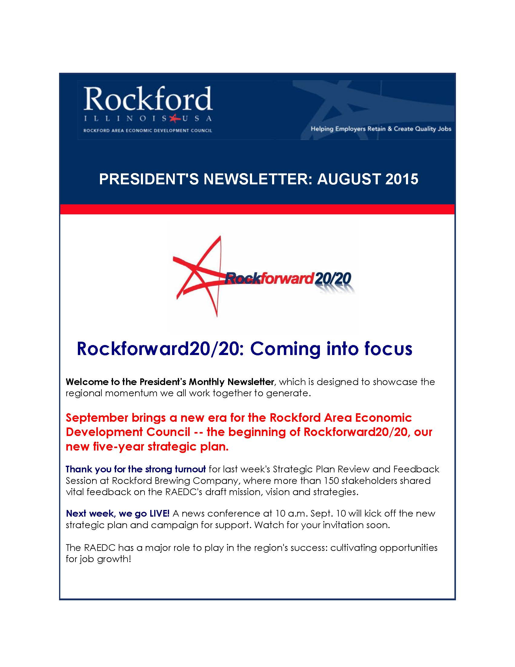 August President's Newsletter: Our 20/20 vision