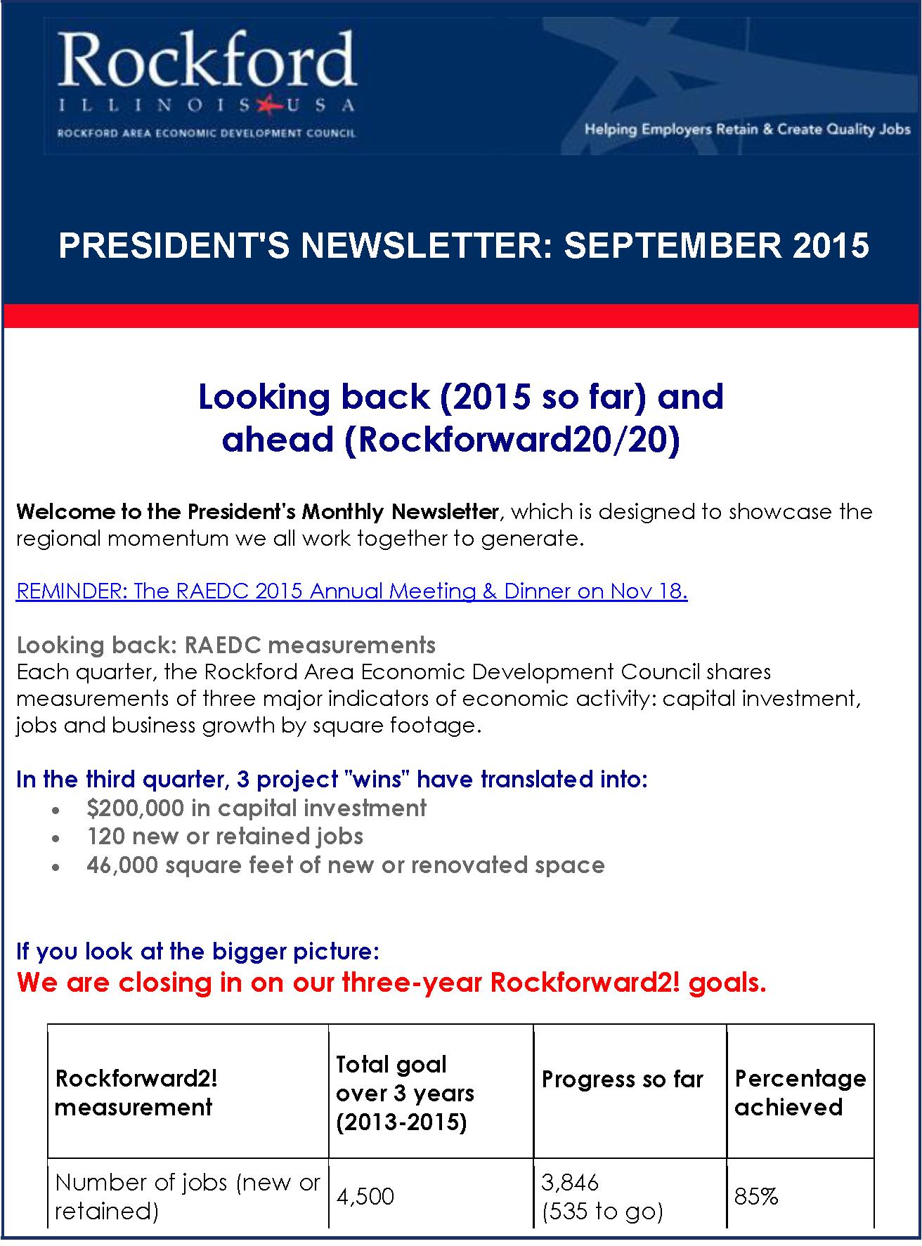 September President's Newsletter: Looking back and ahead (Rockforward 20/20)