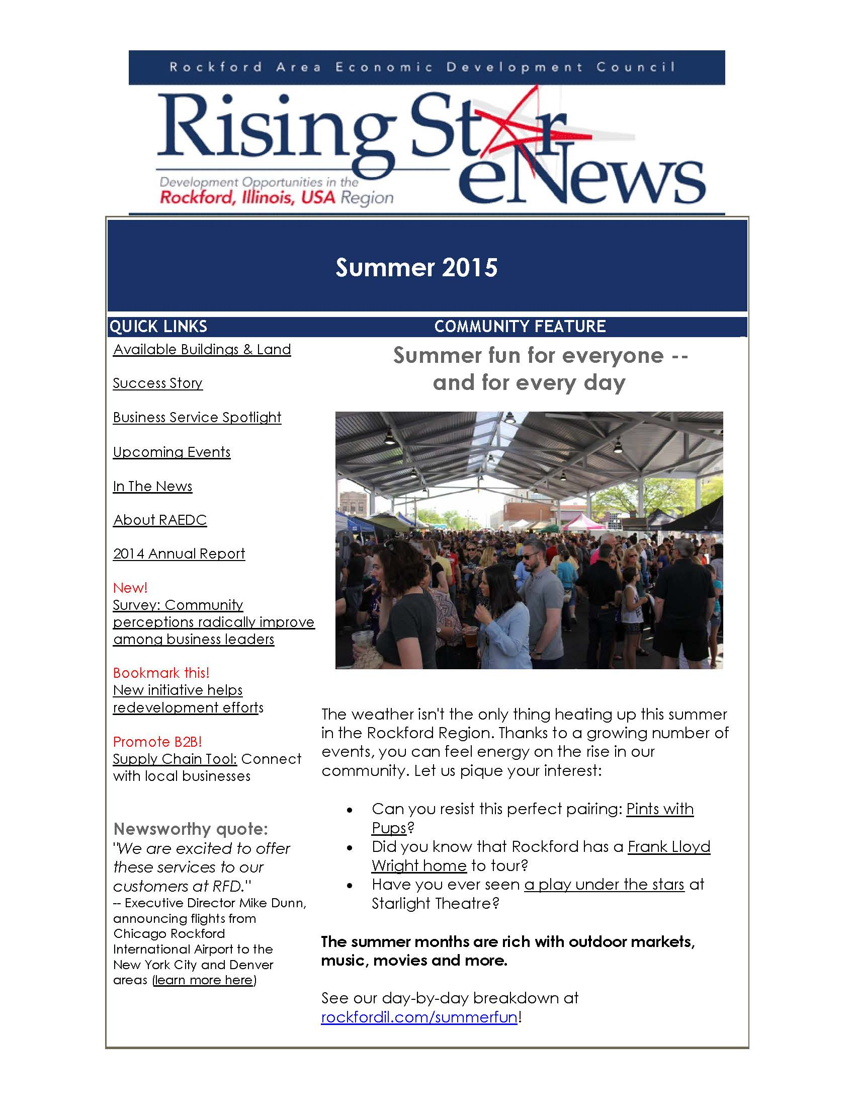Rising Star Summer 2015 Newsletter focuses on real estate opportunities -- plus fun places to go