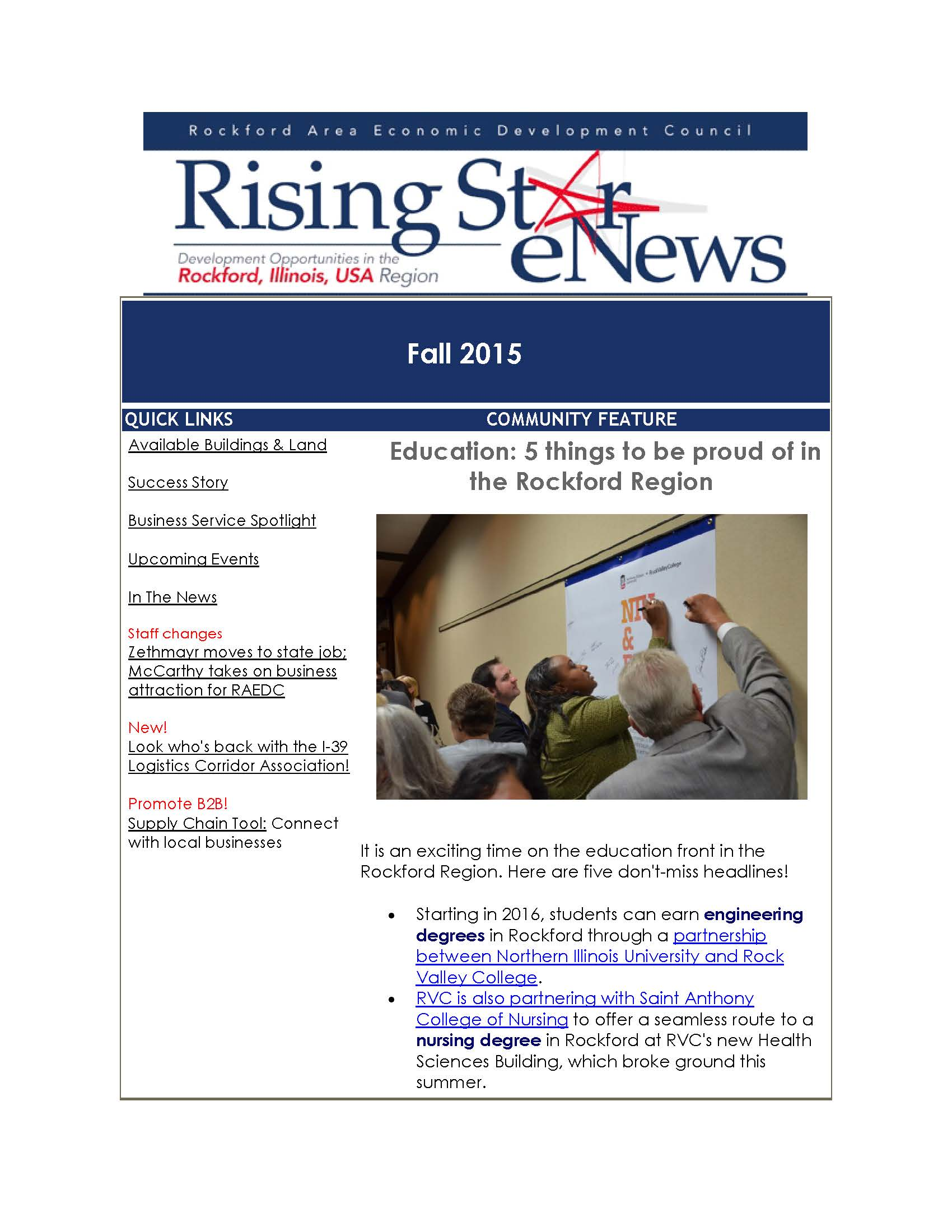 Rising Star Fall 2015 Newsletter focuses on real estate development, plus 5 exciting education headlines