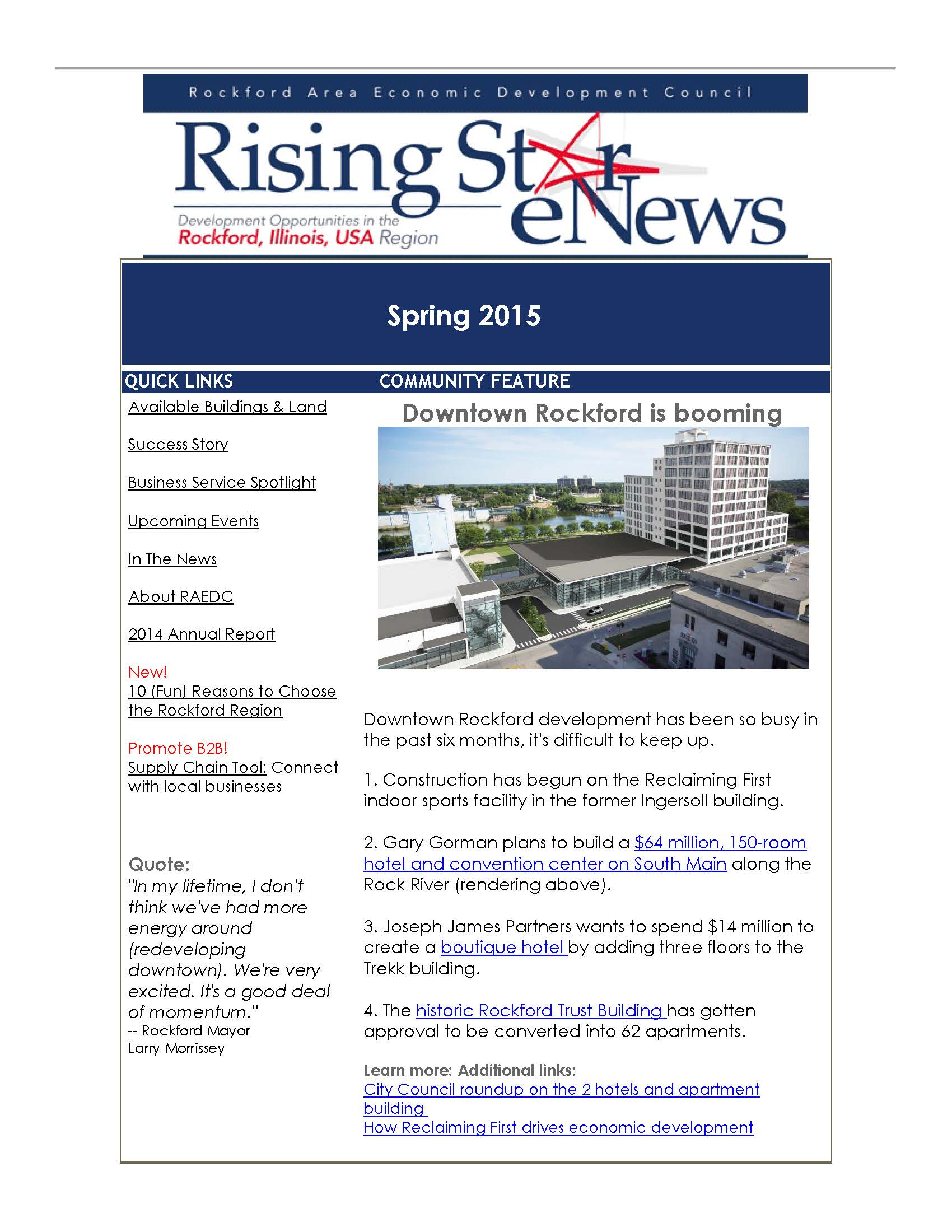 Rising Star Spring 2015 Newsletter focuses on real estate opportunities