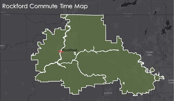 Rockford Commute Time Map - doing business here