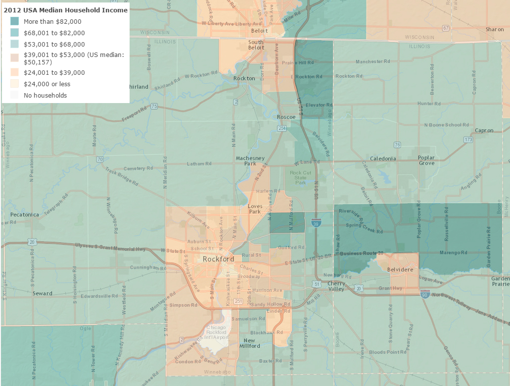 Stats & Maps - Median Household Income 2012 - Rockford, Illinois ...